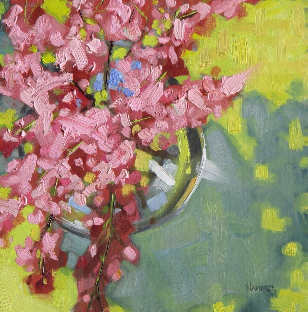 """Lilacs in a vase  8x8 in   Oil painting"" original fine art by Claudia Hammer"