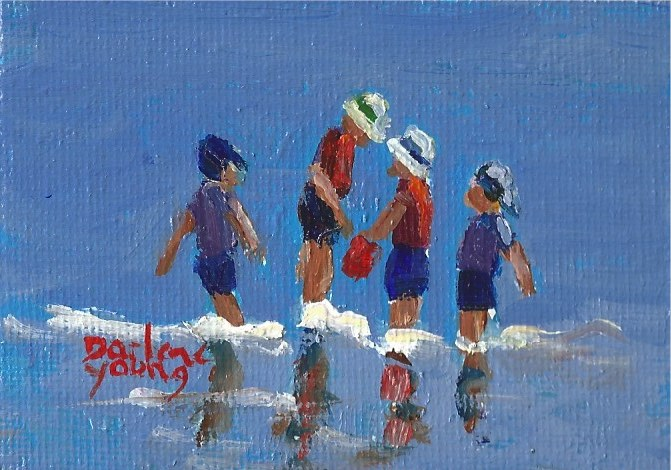 """935 Beach Boys, miniature oil on board 2.5x3.5"" original fine art by Darlene Young"