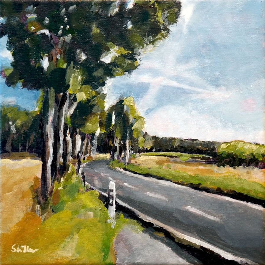 """1463 Country Road Bend"" original fine art by Dietmar Stiller"