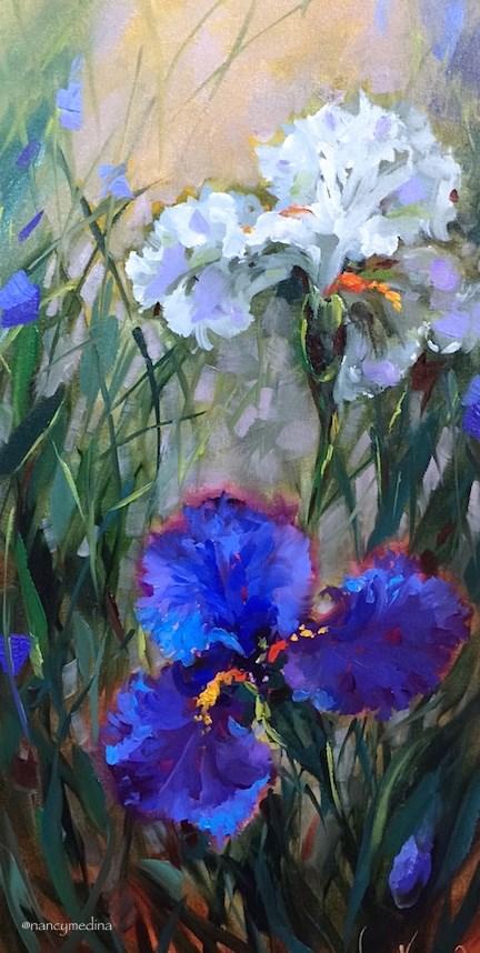 """Saying Goodbye and Flags in My Garden - by Nancy Medina"" original fine art by Nancy Medina"