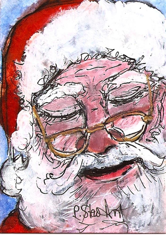 """ACEO Sleepy Santa #6 Series WC & Pen Original Illustration SFA Penny StewArt"" original fine art by Penny Lee StewArt"