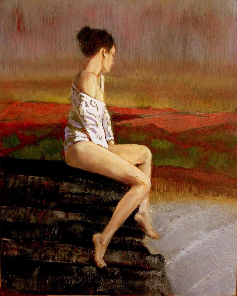 """""""Irish Cliffs"""" original fine art by David Larson Evans"""