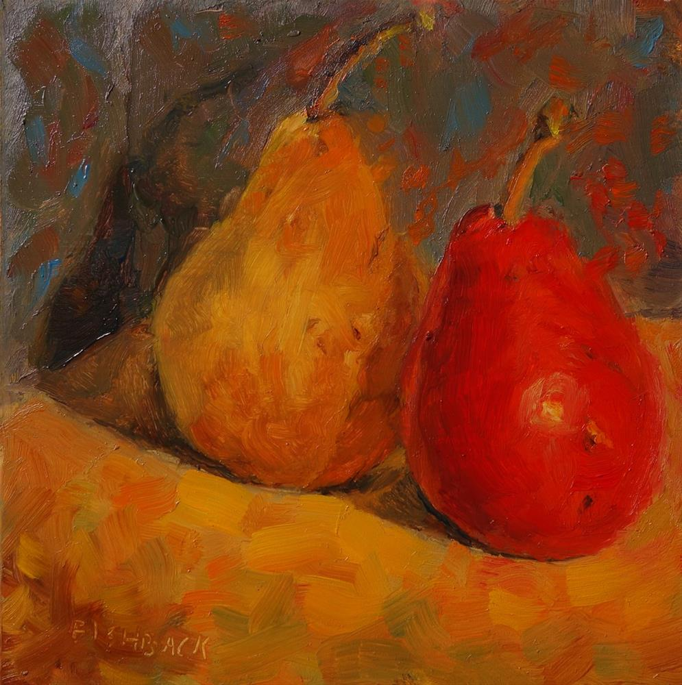"""Red and Yellow Pears"" original fine art by Daniel Fishback"