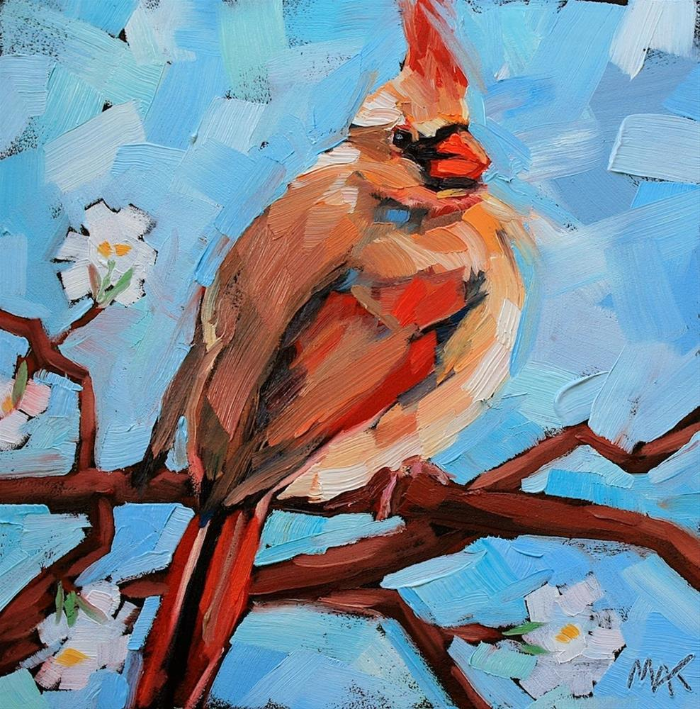 """Female Cardinal"" original fine art by Mary Anne Cary"