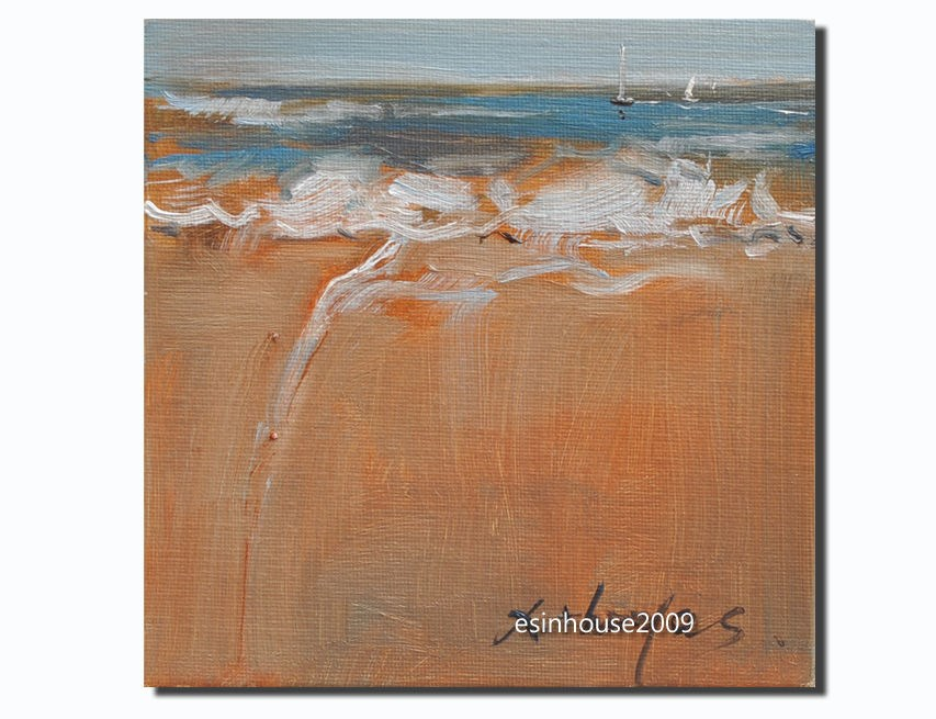 """6X6 Original oil painting seascape Beach Art impressionism ocean painting"" original fine art by Thomas Xie"