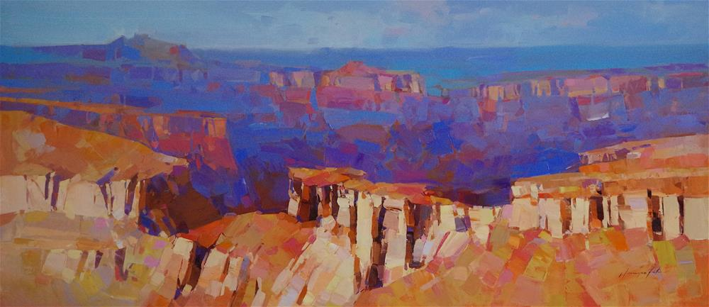 """Grand Canyon landscape oil painting, large size, Ready to hang"" original fine art by V Y"