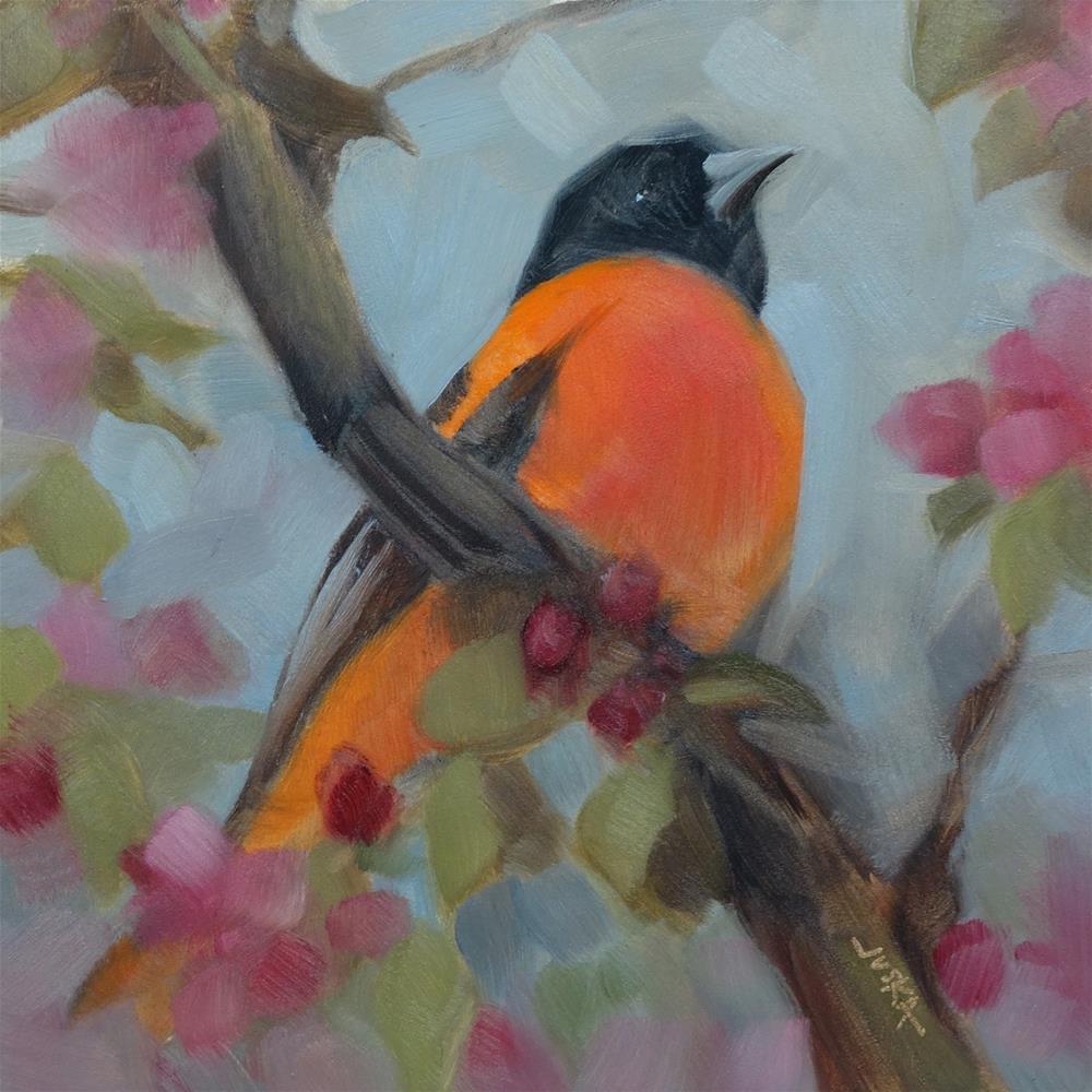 """""""Oriole and Cherry Blossoms"""" original fine art by Elaine Juska Joseph"""