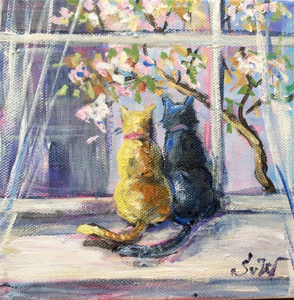 """Meow!Spring is here!"" original fine art by Sonia von Walter"