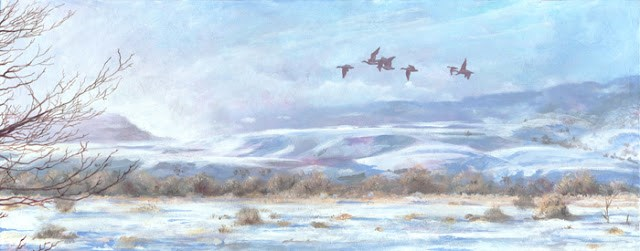 """Colorado Winter Landscape, Wildlife Painting Fog Burns Off by Colorado Artist Nancee Jean Busse, P"" original fine art by Nancee Busse"