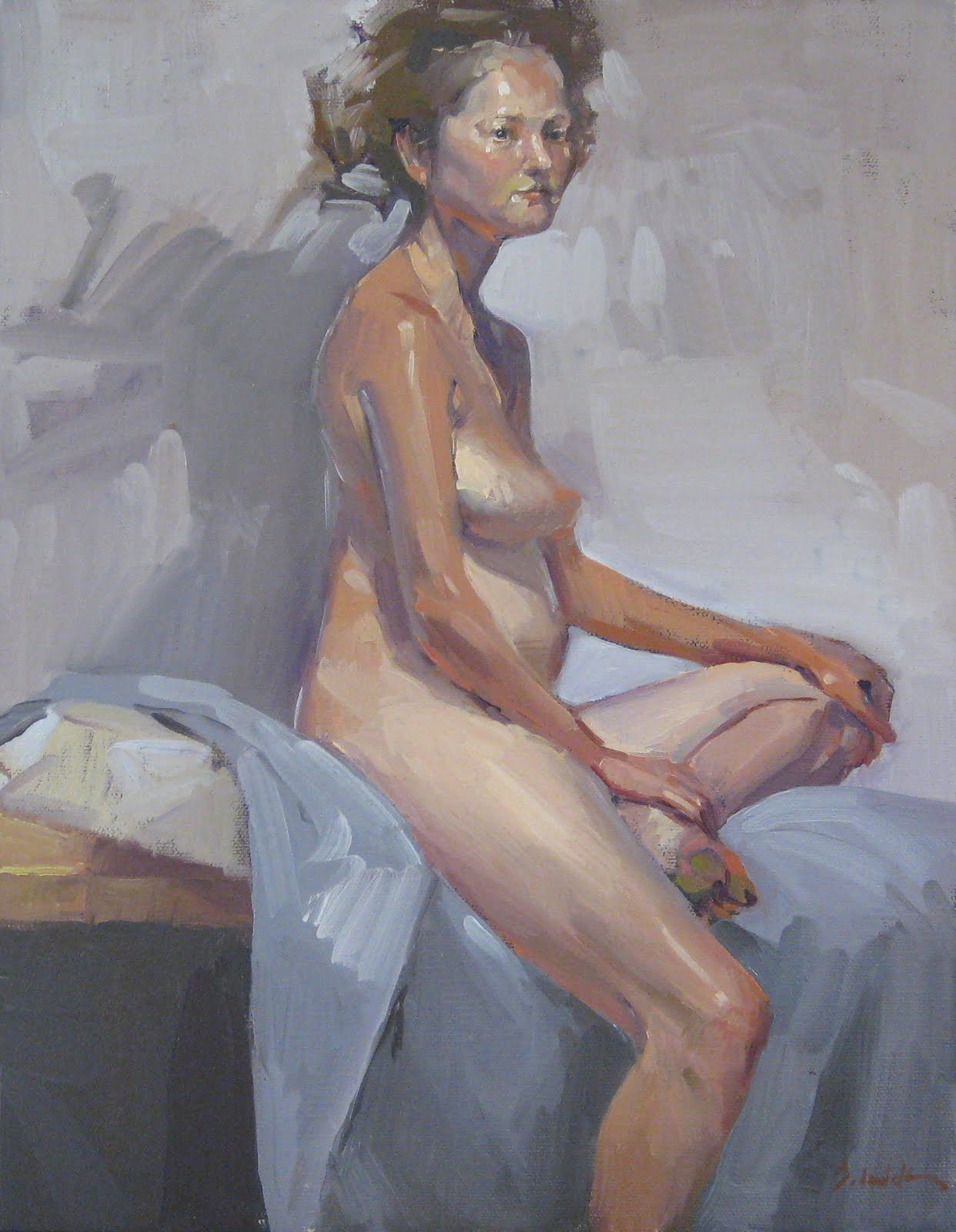 """Rebecca and Her Shadow - Nude Figure Painting - and Blog Giveaway!"" original fine art by Sarah Sedwick"