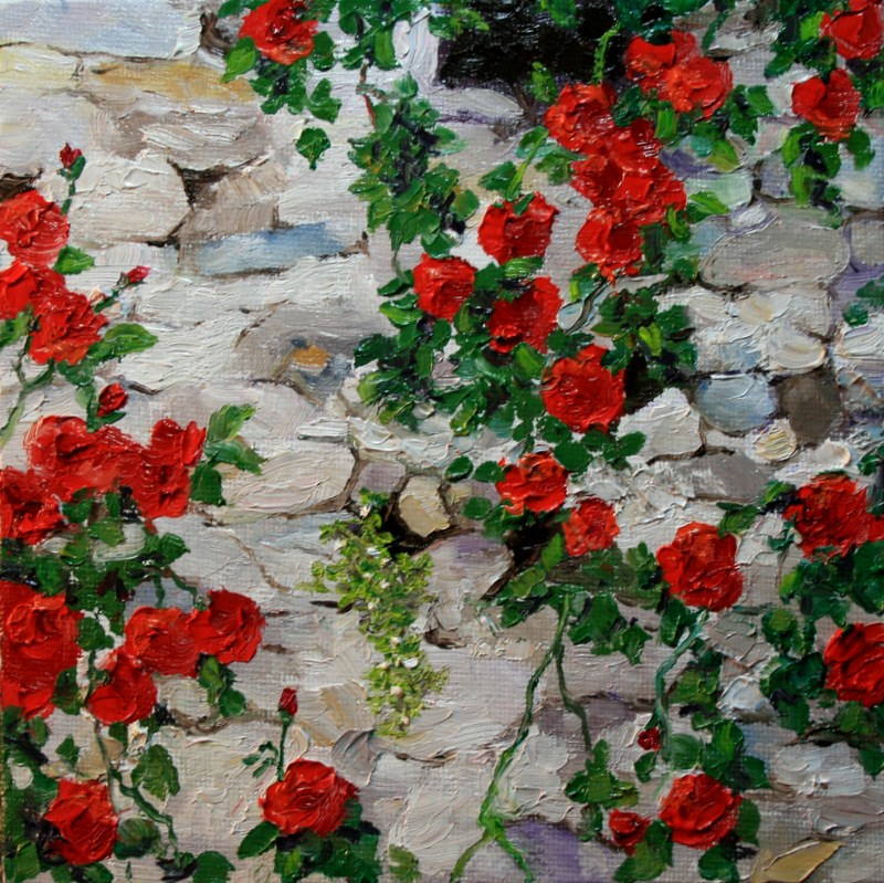 """""""Red Climbing Roses"""" original fine art by Jean Nelson"""