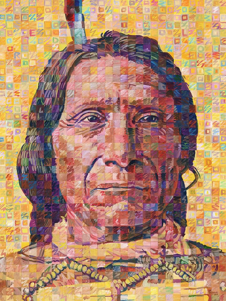 """Great Native American Chiefs – Red Cloud"" original fine art by Randal Huiskens"