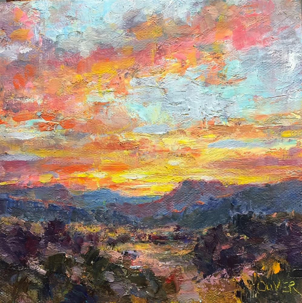 """New Mexico Sunrise"" original fine art by Julie Ford Oliver"
