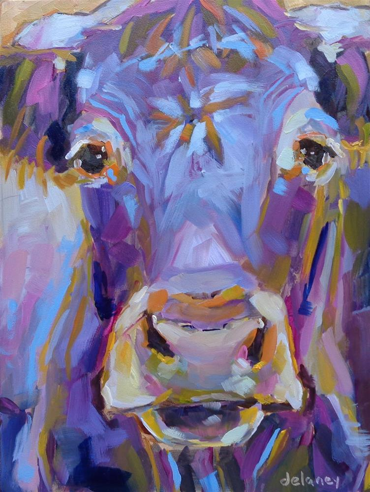 """Cow 104 MY TRUE SELF"" original fine art by Jean Delaney"