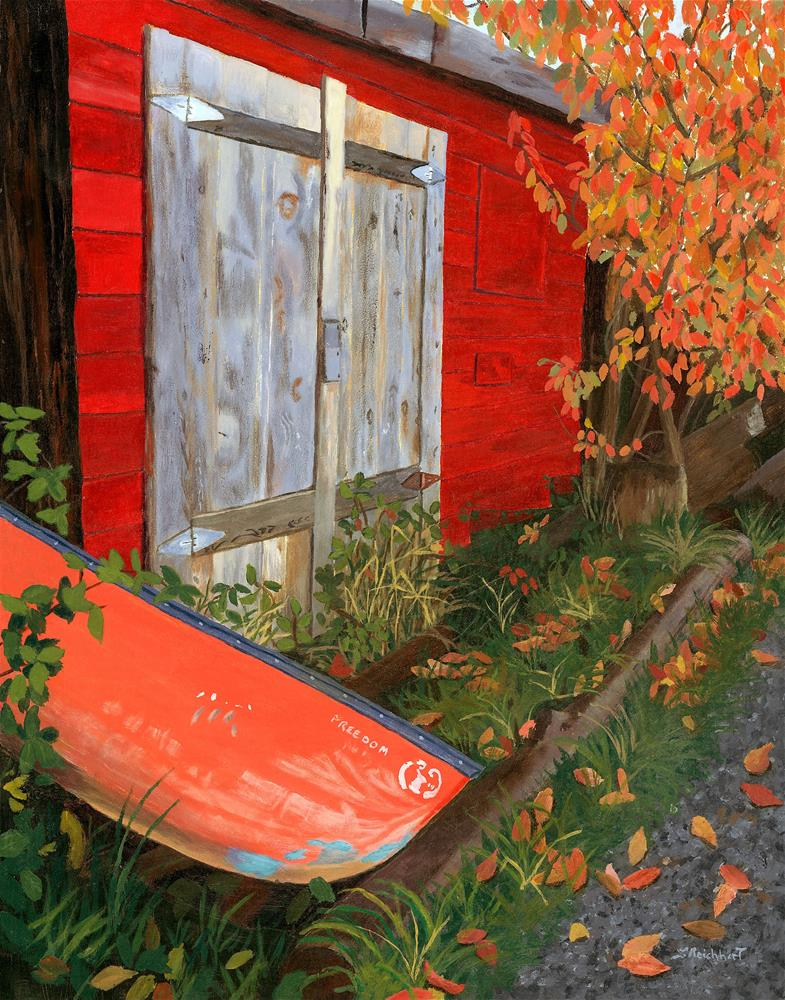 """Old Canoe"" original fine art by Lynne Reichhart"