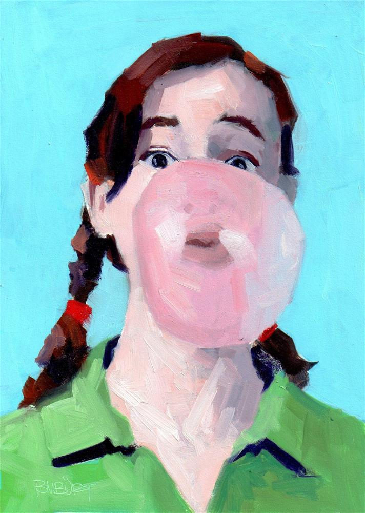 """DAILY DIAPER #254 Pink Bubble Pretty Pigtails"" original fine art by Brian Burt"
