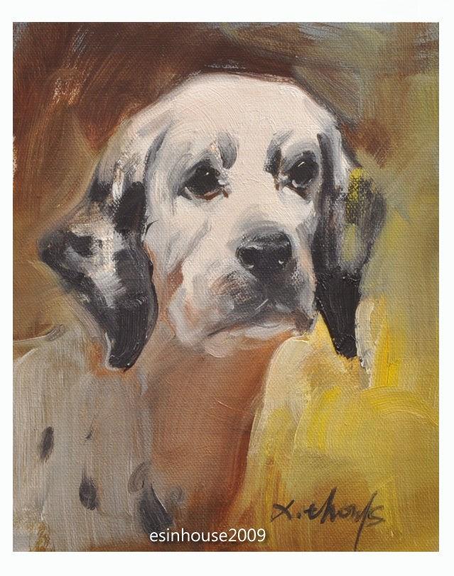 """8X10Herd Western animal dalmatian spotty dog Original Oil Portrait Painting"" original fine art by Thomas Xie"