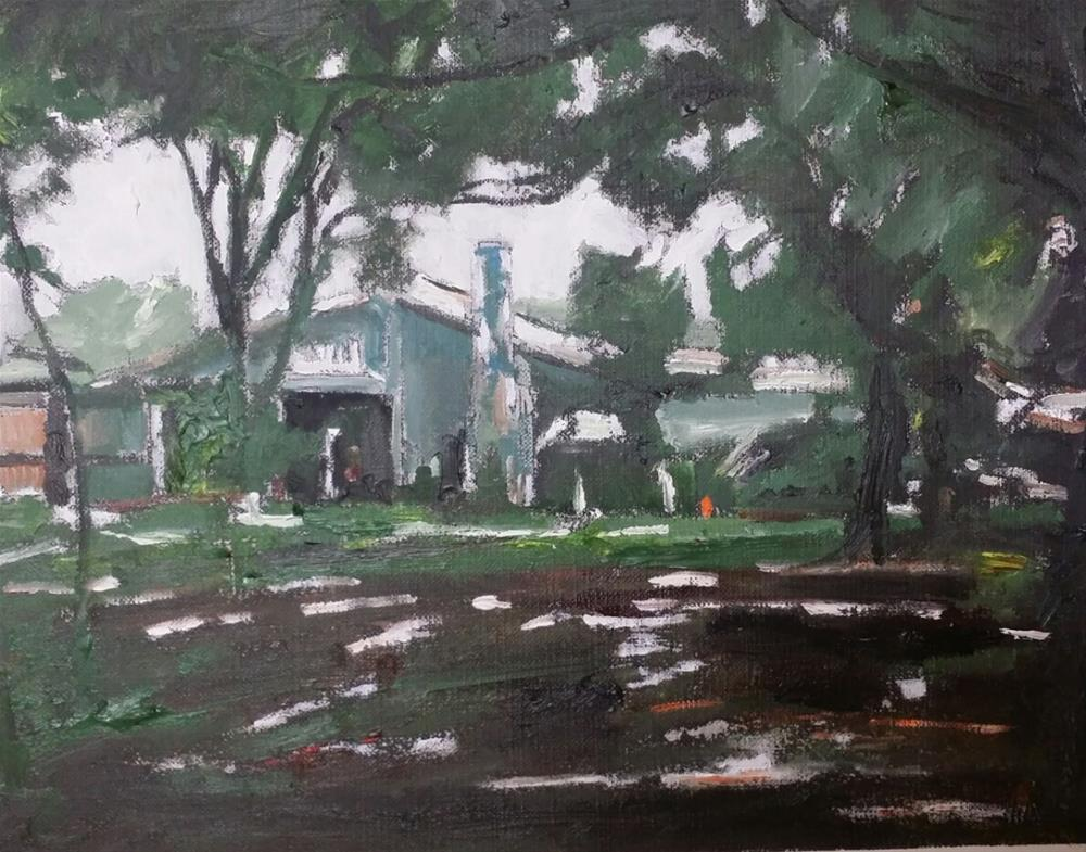 """The House in The Wood (8 x 10 oil on canvas sheet - no frame)"" original fine art by Ramon DelRosario"