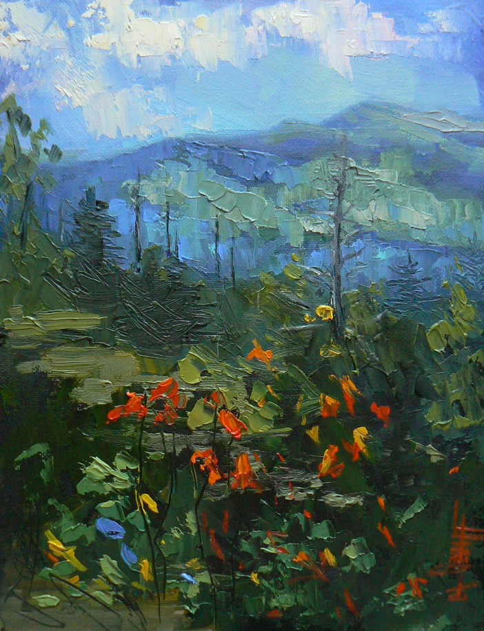 """SUMMER IN THE BLUE RIDGE, 8x6, OIL, SOLD"" original fine art by Carol Schiff"
