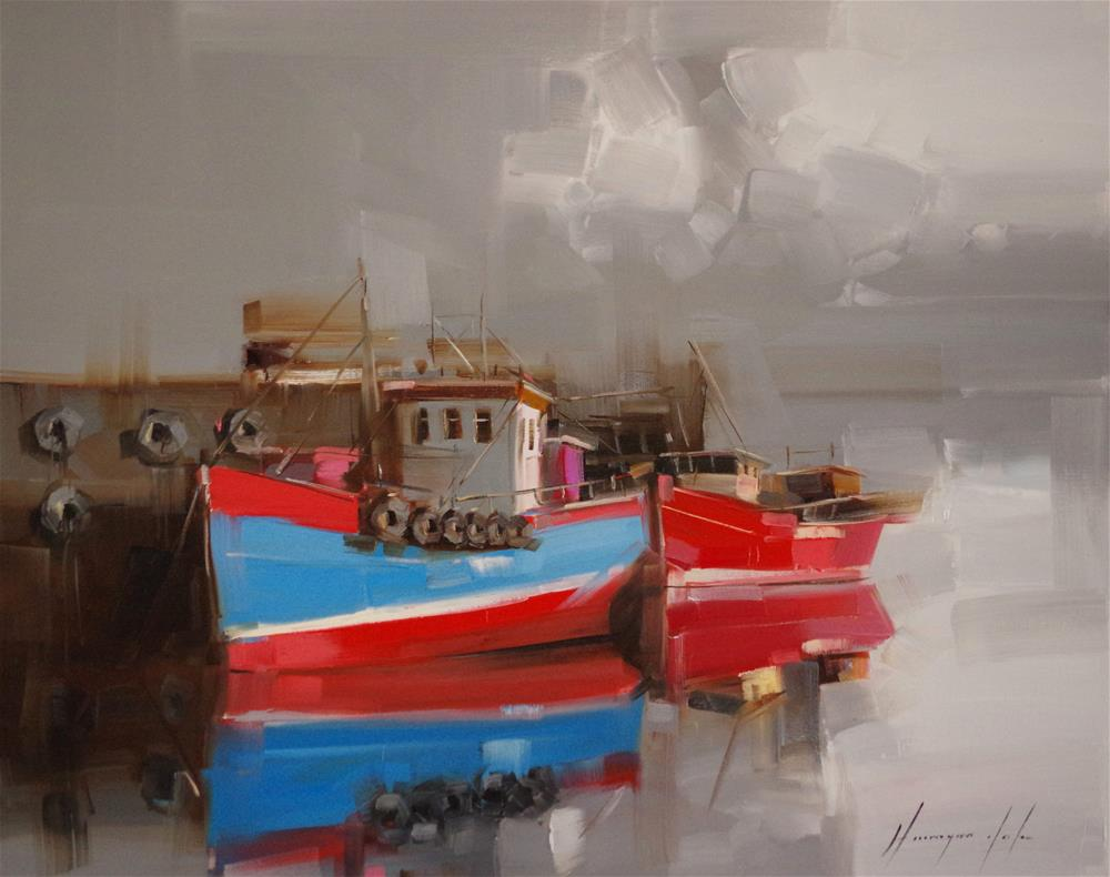 """Boats Parking Original oil Painting"" original fine art by V Y"