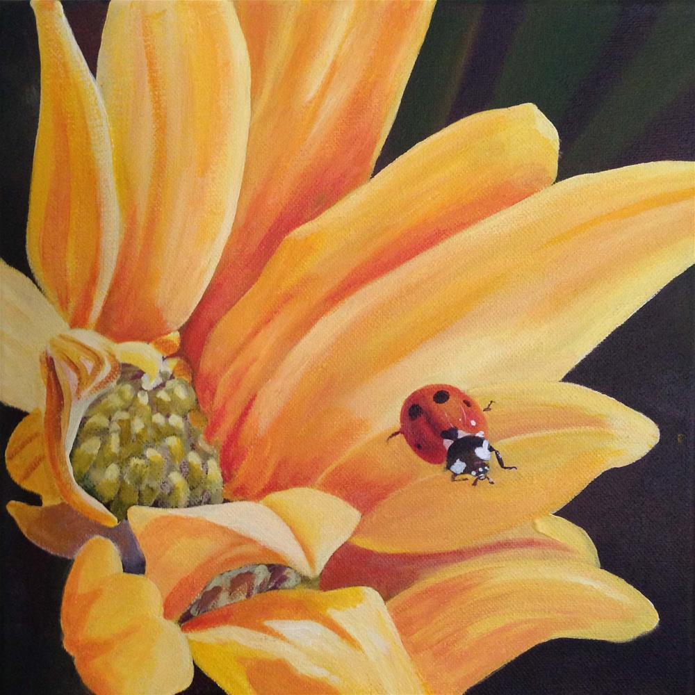 """Lady Bug Visit"" original fine art by Michelle Wolfe"