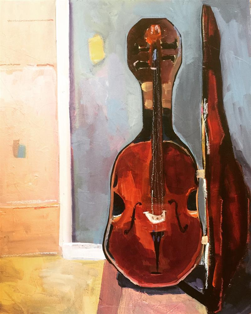 """502 Cello Waiting"" original fine art by Jenny Doh"