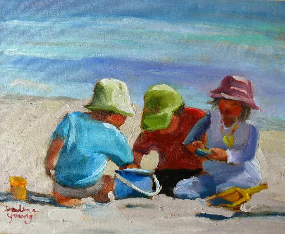 """750 Beach Kids"" original fine art by Darlene Young"