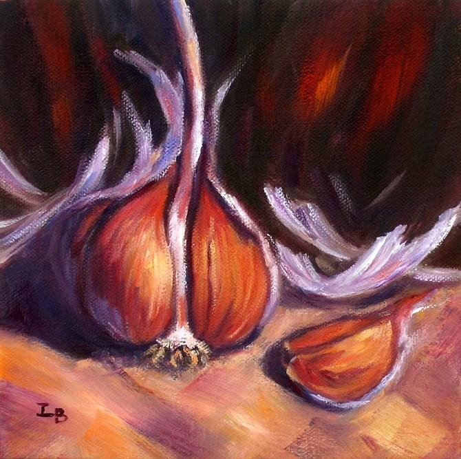 """Garlic Study"" original fine art by Irina Beskina"