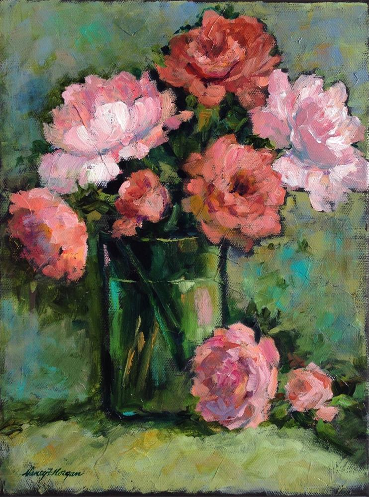 """Peonies in a Green Vase"" original fine art by Nancy F. Morgan"