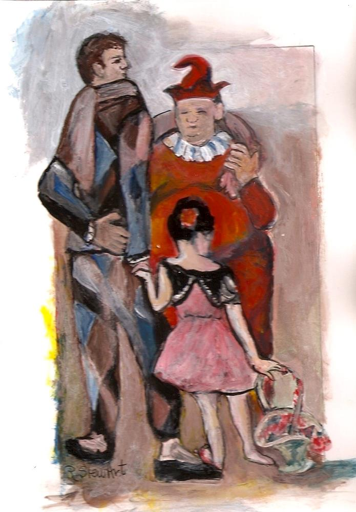 """""""5x7 The Saltimbanques inspired by Picasso Acrylic by Penny Lee StewArt"""" original fine art by Penny Lee StewArt"""