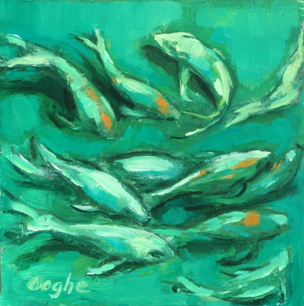 """Koi in Green Pool"" original fine art by Angela Ooghe"