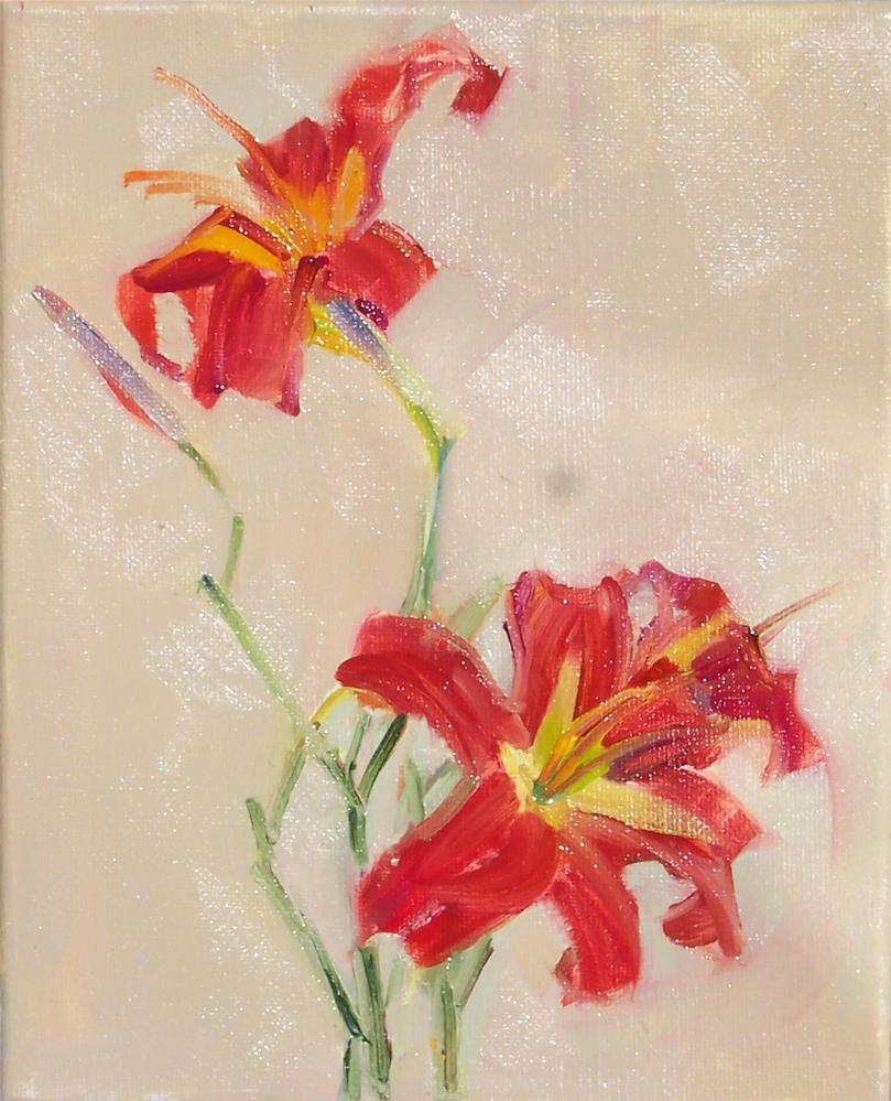 """Day Lily Dance,Still life,oil on canvas,10x8,price$275"" original fine art by Joy Olney"