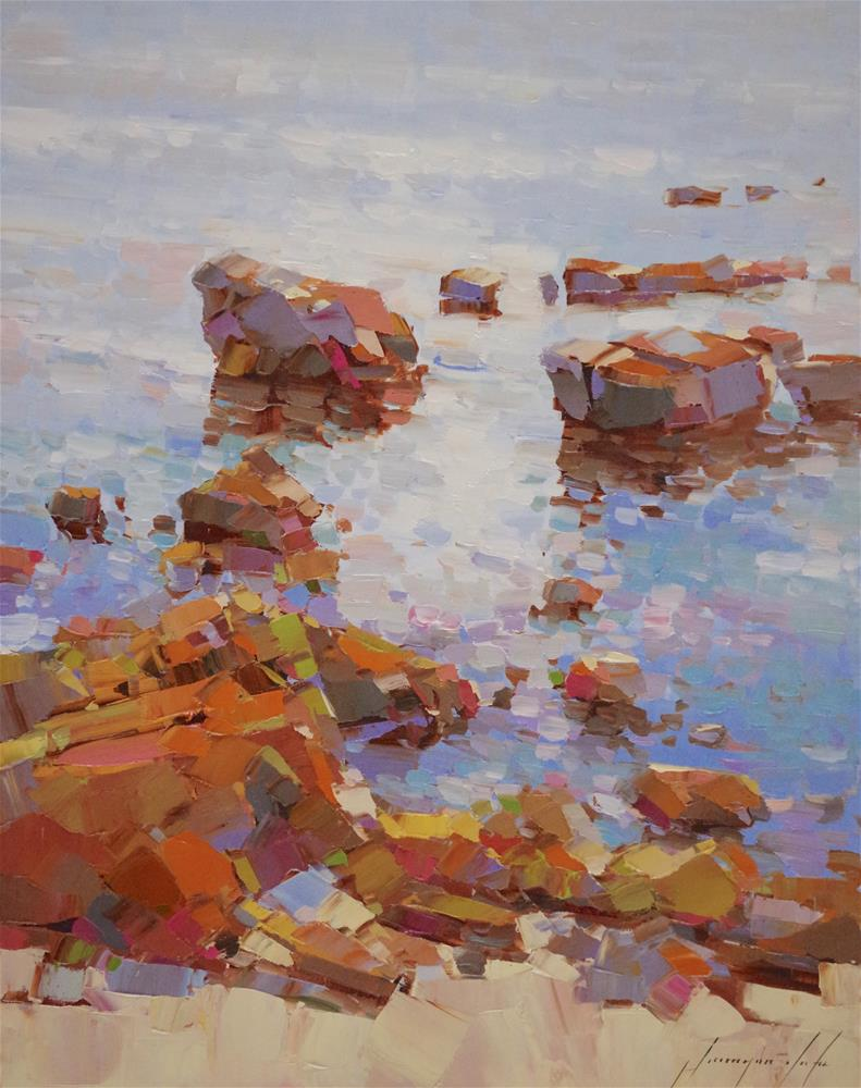 """Ocean Cliffs, Original oil Painting, handmade art, Impressionism, One of a Kind"" original fine art by V Yeremyan"