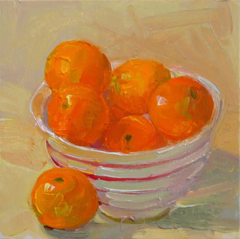 """Satsumas for Thanksgiving,still life,oil on canvas,6x6,price$200"" original fine art by Joy Olney"