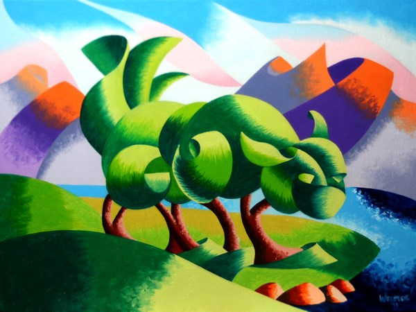 """Mark Webster Artist - Cats Cradle Sunrise - Abstract Geometric Landscape Oil Painting"" original fine art by Mark Webster"