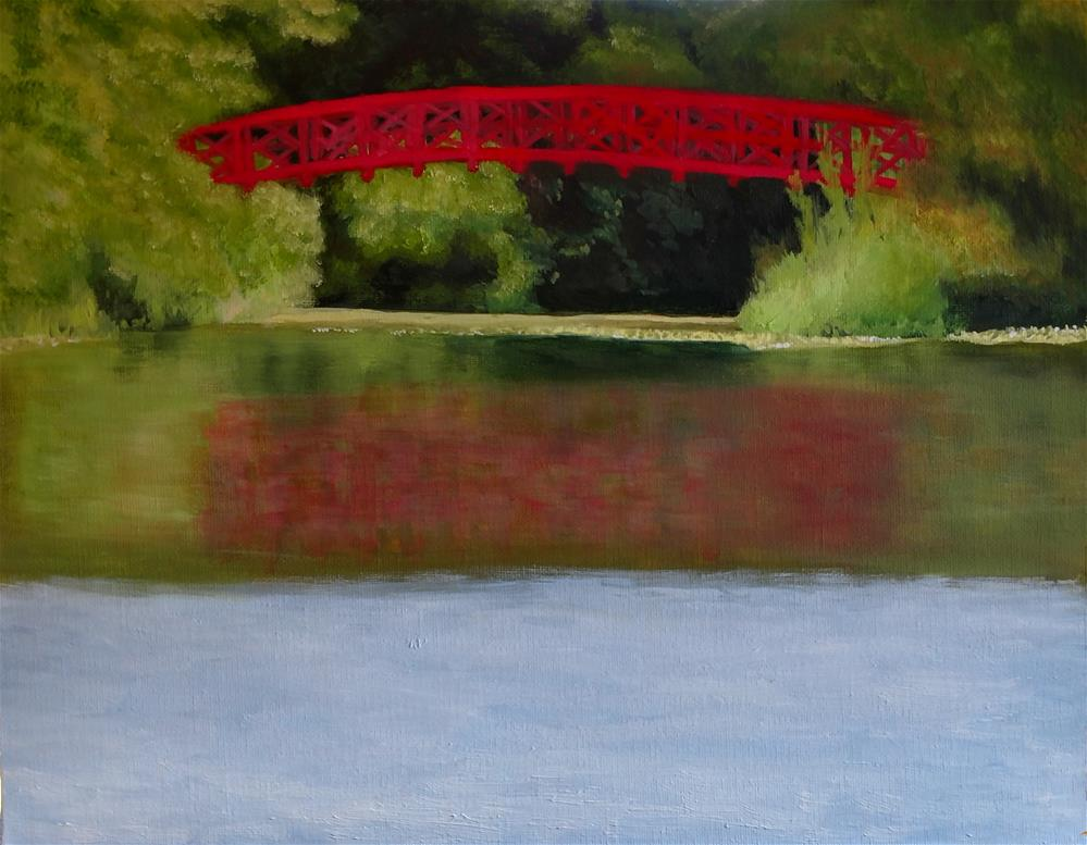 """Red Bridge"" original fine art by C J Schwarz"