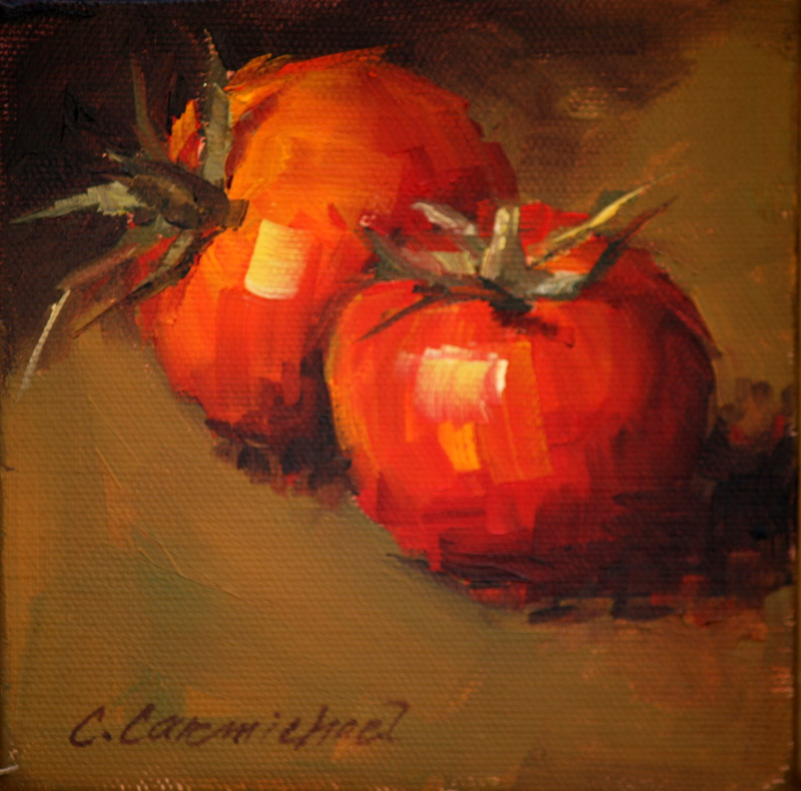 """Tomatoes on Green"" original fine art by Carol Carmichael"