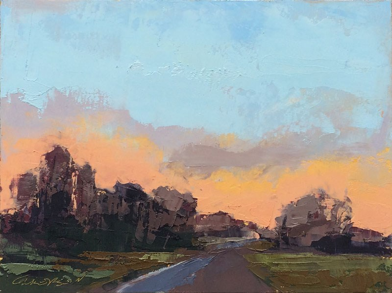 """Minervaville, Early Evening, Winter"" original fine art by Mary Gilkerson"