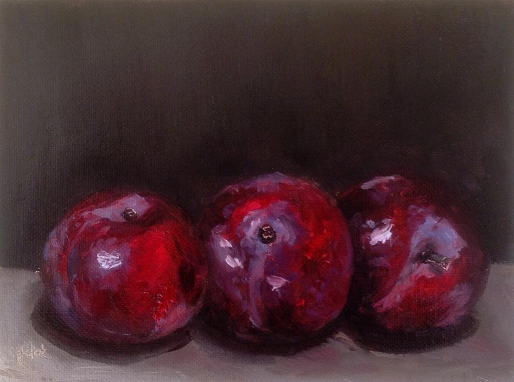 """Three plums #699"" original fine art by Heidi Shedlock"