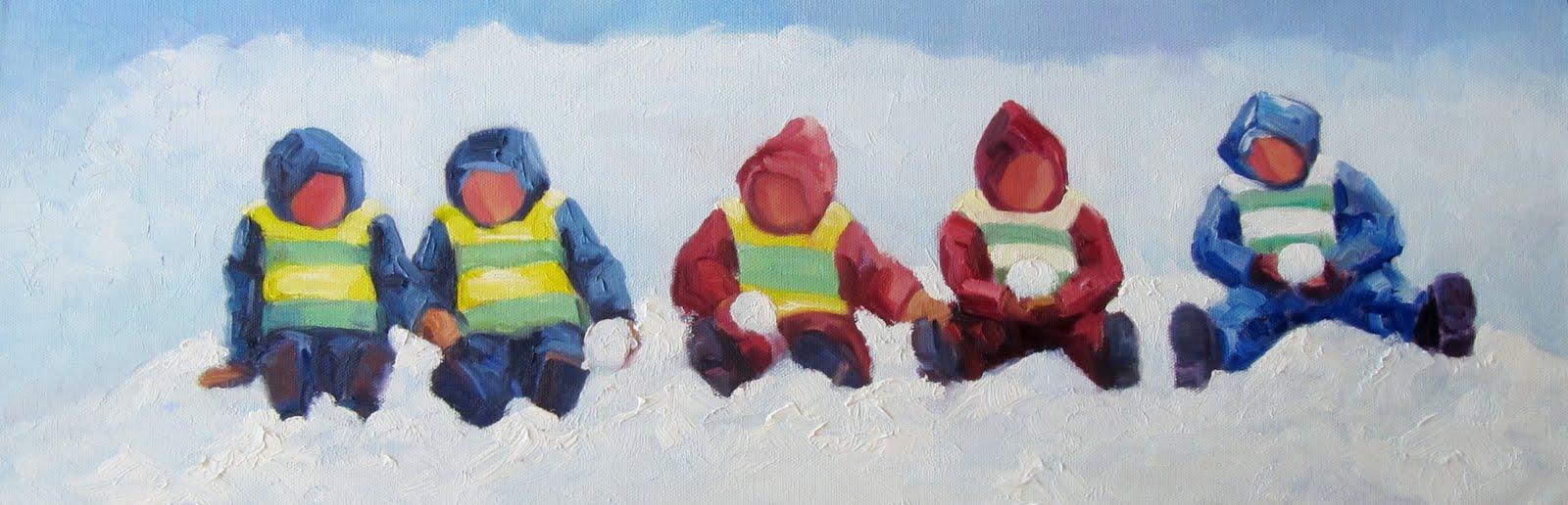 """""""Toddlers in snow"""" original fine art by Steinunn Einarsdottir"""