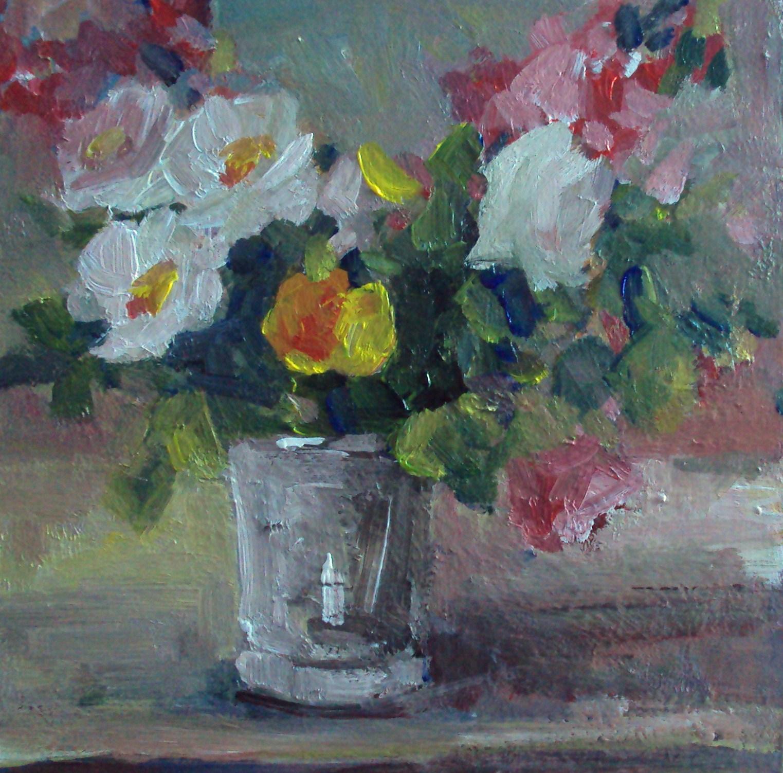 """a bunch of flowers in a glass"" original fine art by Parastoo Ganjei"
