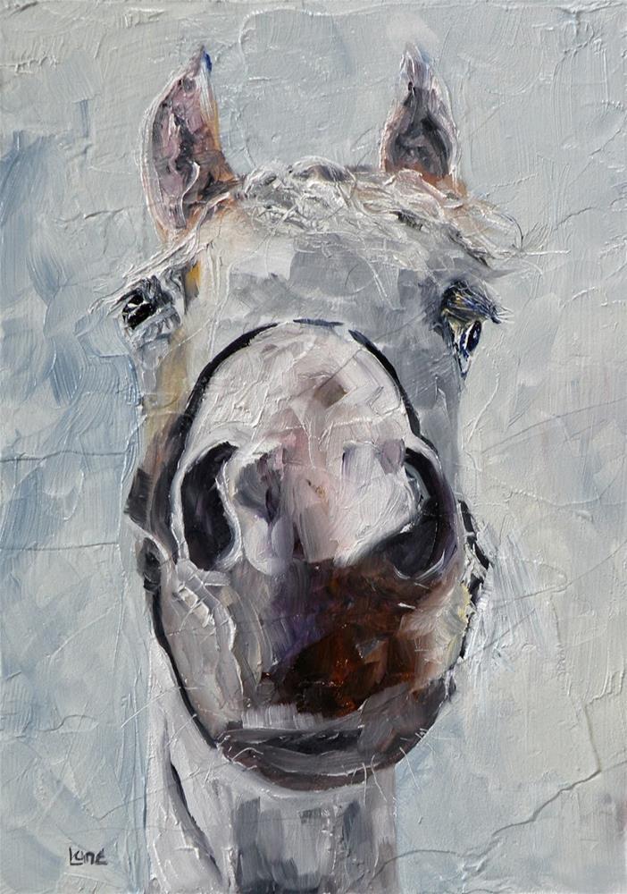 """SILVER GIRL A HORSE ORIGINAL OIL ON 7X5 TEXTURED PANEL © SAUNDRA LANE GALLOWAY"" original fine art by Saundra Lane Galloway"