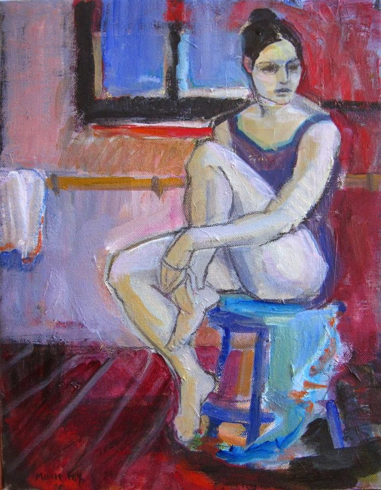 """Dance Break, figurative painter, female figuration, dancer, ballet, woman art, figure study, girl da"" original fine art by Marie Fox"