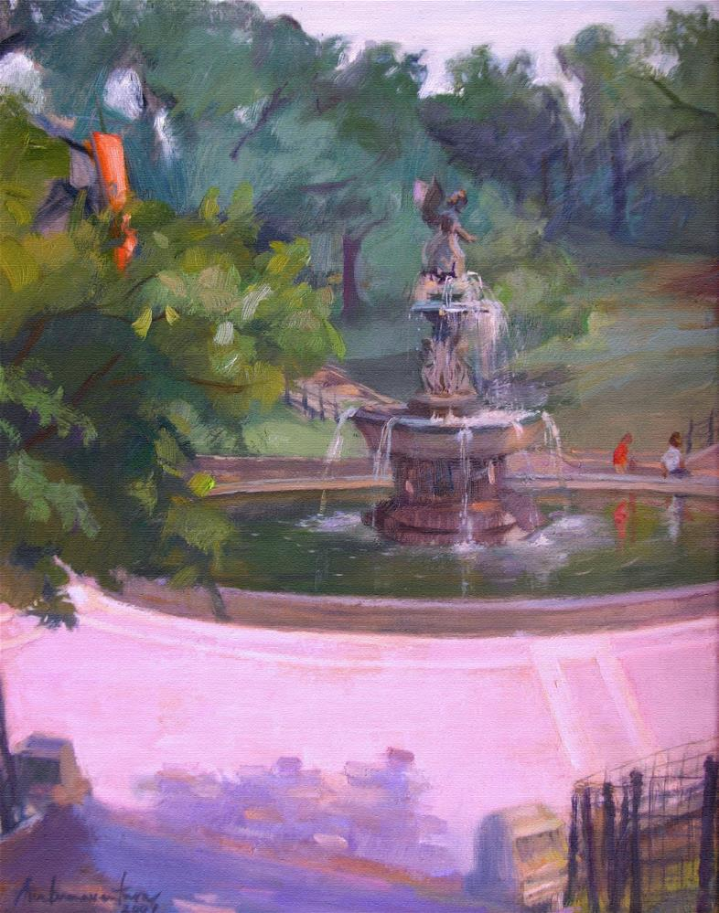 """Angel of the Waters Fountain"" original fine art by Ann Buenaventura"