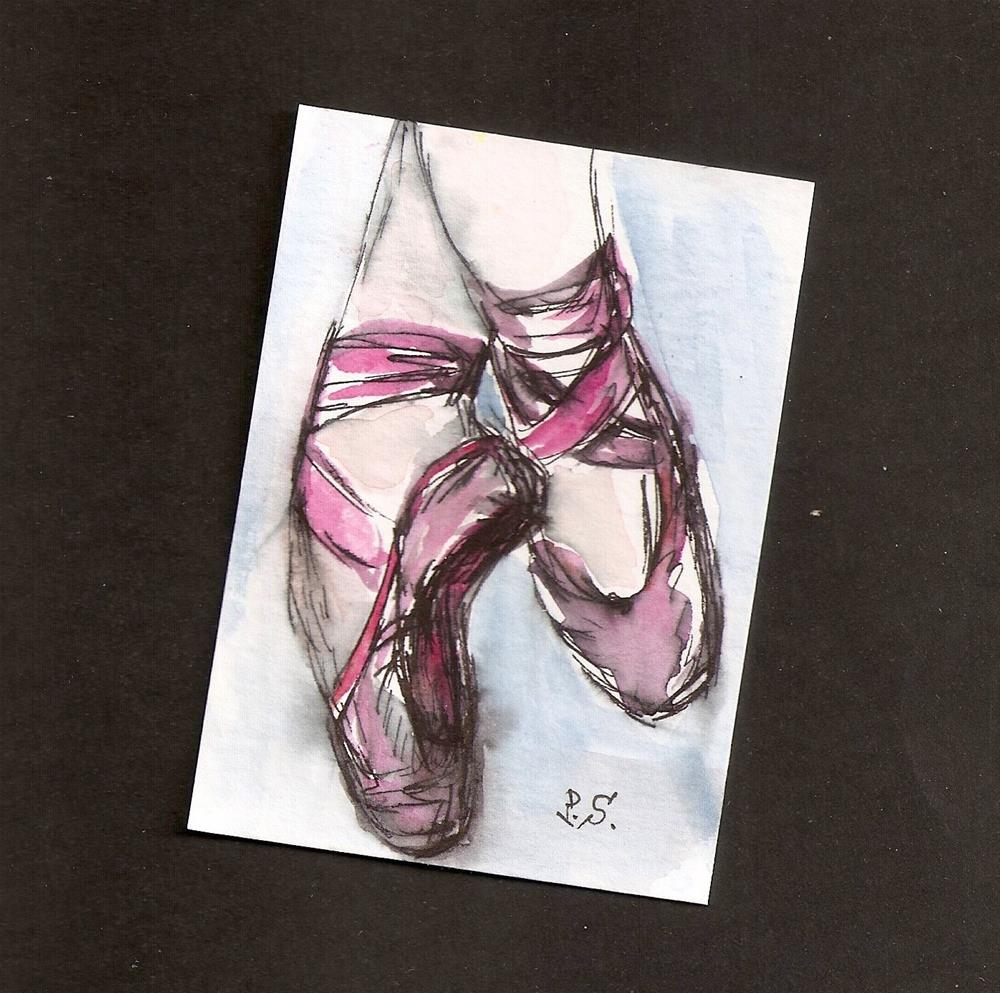 """""""ACEO Pink Ballet Slippers Shoes Dance Loose Watercolor Painting Penny StewArt"""" original fine art by Penny Lee StewArt"""
