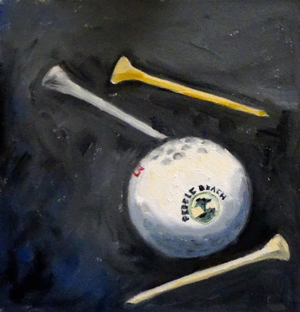 """Golf Ball & Tees"" original fine art by Judy Elias"