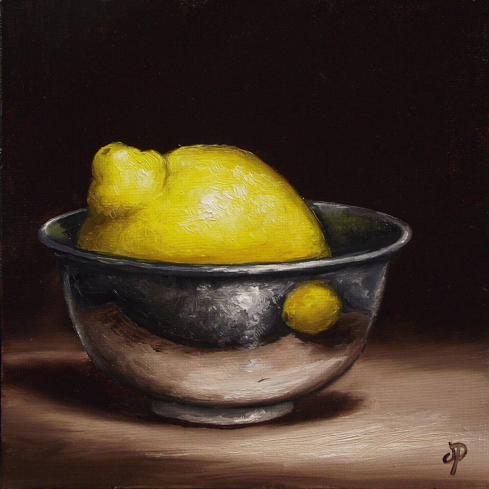 """Lemon in Silver"" original fine art by Jane Palmer"