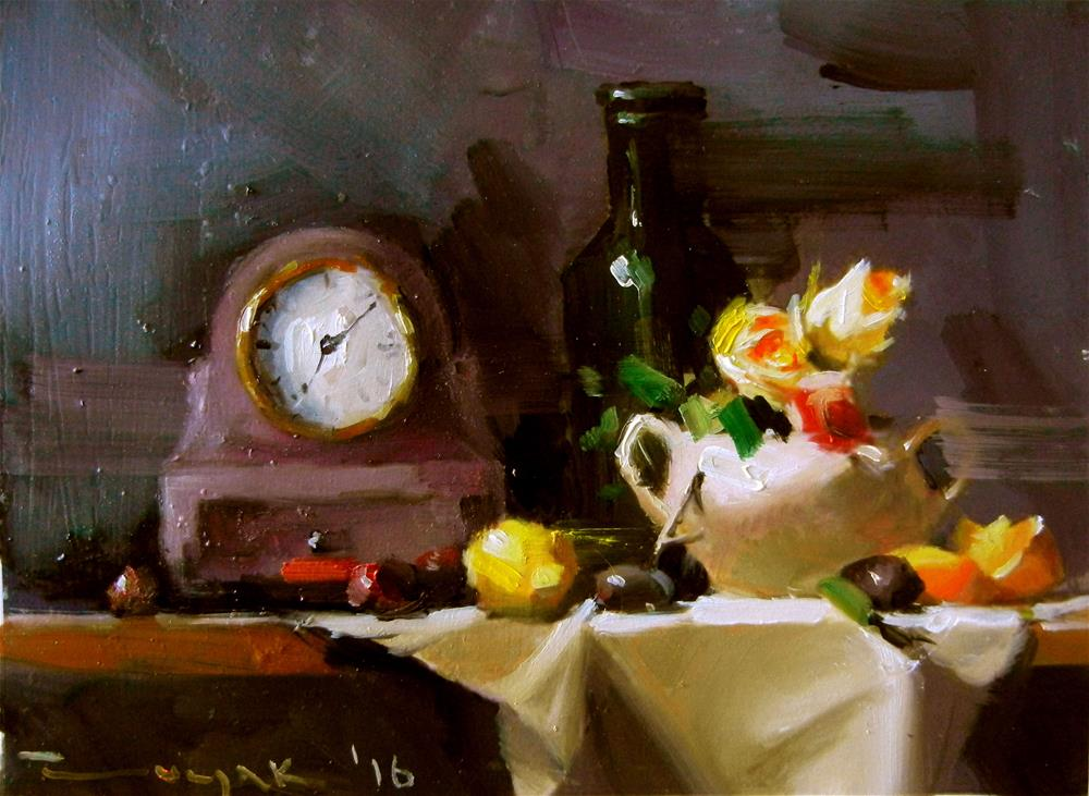 """Clock flowers and vase"" original fine art by Dragan Culjak"