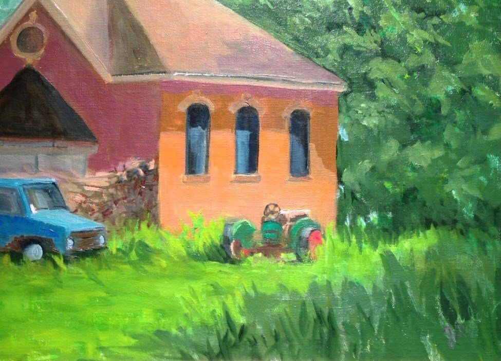 """Tractor in the yard"" original fine art by Judith Anderson"