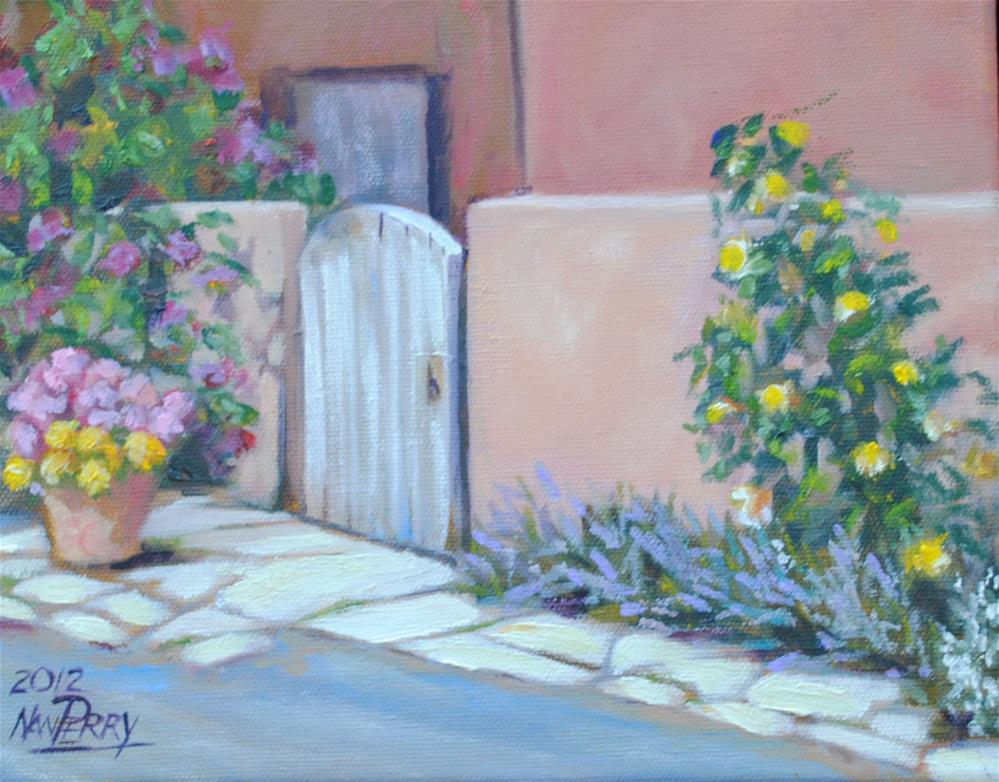 """Santa Fe Courtyard"" original fine art by Nan Perry"